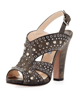 Prada Vitello Vintage Studded Sandal, Black