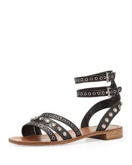 Prada Double Ankle-Wrap Flat Sandal, Black/Brown