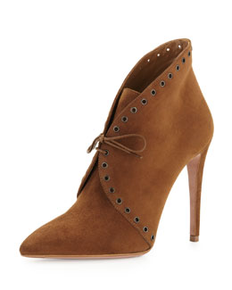 Prada Eyelet Suede Lace-Up Bootie, Brown