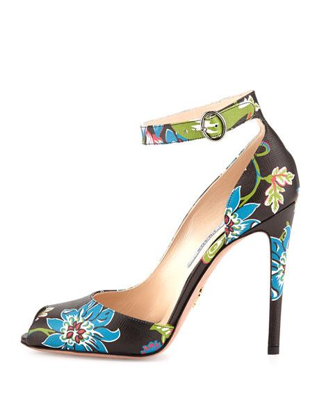 Floral-Print Ankle-Wrap Pump