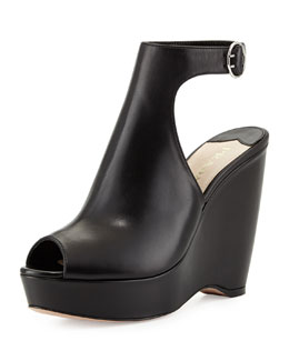 Prada Peep-Toe Leather Ankle-Strap Wedge