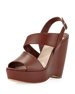 Prada Asymmetric Calfskin Wedge Sandal, Brown