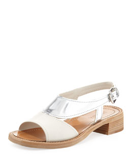 Prada Metallic Low-Heel Sandal, White/Silver
