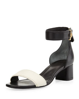 Tory Burch Tana Ankle-Wrap City Sandal, Black/Ivory