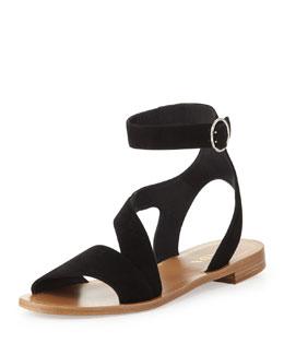 Prada Suede Ankle-Wrap Sandal, Black
