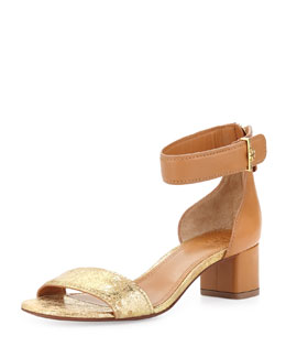 Tory Burch Tana Ankle-Wrap City Sandal, Gold/Tan