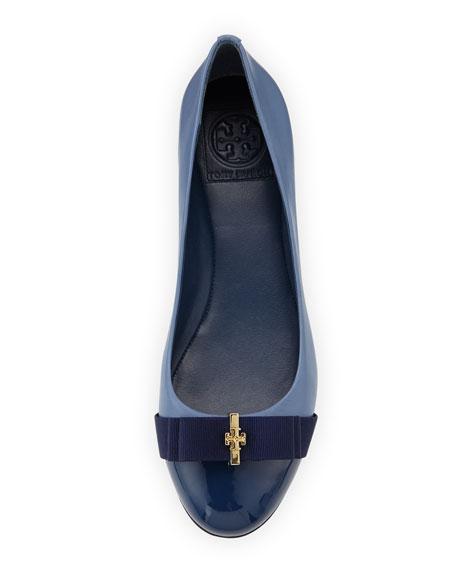 Trudy Logo-Bow Ballerina Flat, Blue/Navy