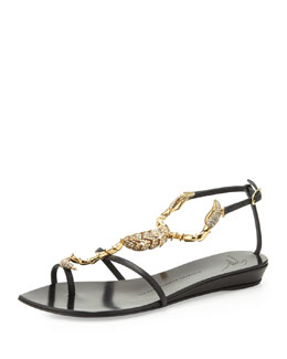Giuseppe Zanotti 20th Anniversary Scorpion Sandal, Black/Gold