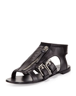 Giuseppe Zanotti Buckled Zip-Up Cage Sandal, Black