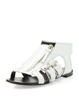 Giuseppe Zanotti Buckled Zip-Up Cage Sandal, White