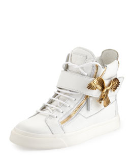 Giuseppe Zanotti Eagle Side Zip Hi-Top Sneaker, White
