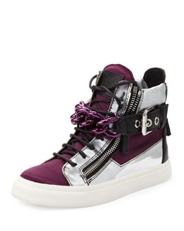 Giuseppe Zanotti Chain & Zipper Hi-Top Sneaker, Purple
