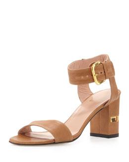 Stuart Weitzman Breezy Leather City Sandal, Adobe