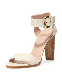 Stuart Weitzman Breezy Leather Sandal, Vanilla