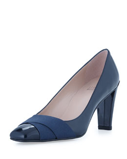 Stuart Weitzman Expert Patent Leather Crisscross Pump, Navy