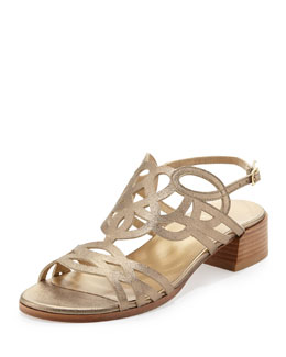 Stuart Weitzman Filigree Metallic City Sandal, Ale Wash