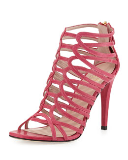 Stuart Weitzman Loops Leather Strappy Sandal, Hot Pink