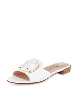 Stuart Weitzman Odeon Leather Buckle Slide, White