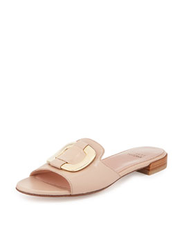 Stuart Weitzman Odeon Leather Buckle Slide, Adobe