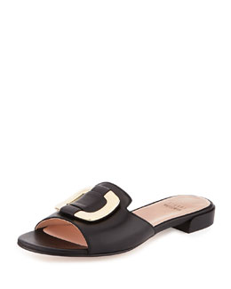 Stuart Weitzman Odeon Leather Buckle Slide, Black