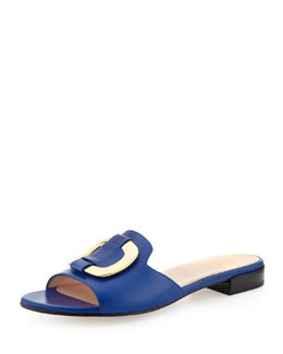 Stuart Weitzman Odeon Leather Buckle Slide, Ultramarine