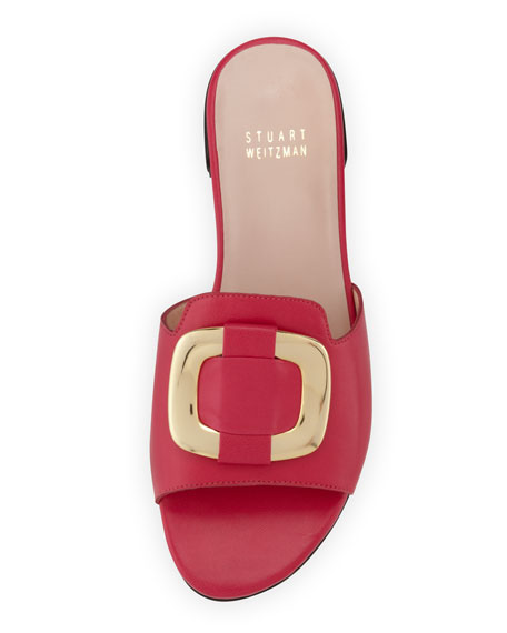 Odeon Leather Buckle Slide, Begonia