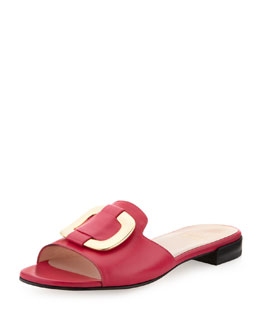 Stuart Weitzman Odeon Leather Buckle Slide, Begonia