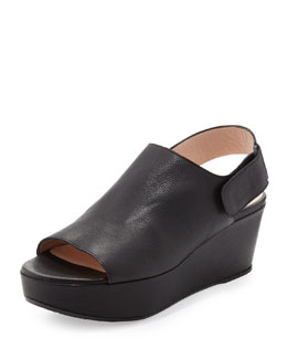 Offset Leather Peep-Toe Wedge, Black