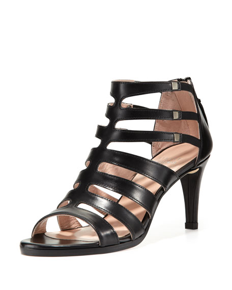 Outbound Strappy Leather Mid-Heel Sandal, Black