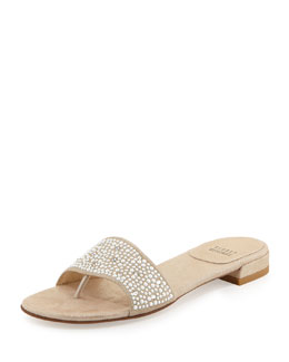 Stuart Weitzman Pearlescent Slide Leather Sandal, Frosting