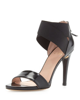 Stuart Weitzman Sexyflex Leather Stretch Sandal, Black