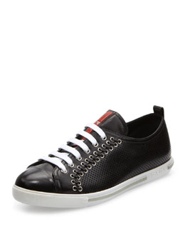 Prada Linea Rossa Lace-Up Sneaker with Rivets, Black