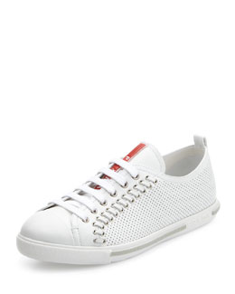Prada Linea Rossa Lace-Up Sneaker with Rivets, White