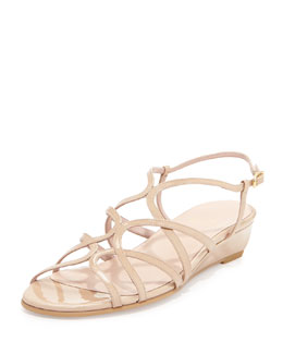 Stuart Weitzman Turning Strappy Patent Demi-Wedge, Adobe