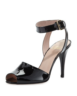 Stuart Weitzman Waycool Patent Leather Sandal, Black