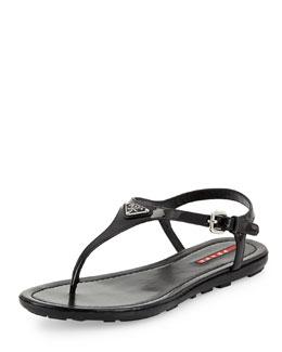 Prada Linea Rossa Vernice Logo Thong Sandal, Nero