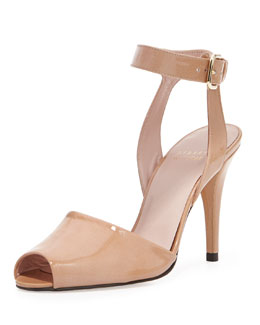 Stuart Weitzman Waycool Strappy Patent Leather Pump, Nude