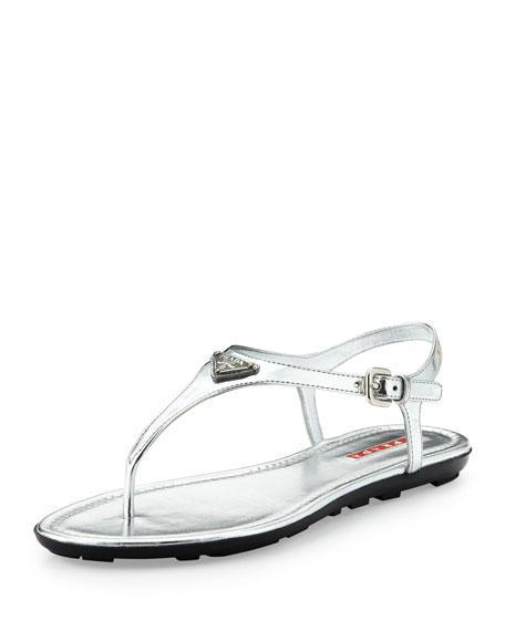 19af574e0 Prada Metallic Logo Thong Sandal