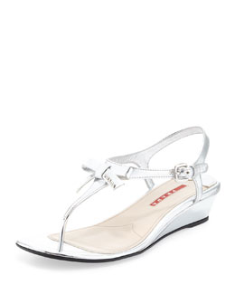 Prada Bow Demi-Wedge Thong Sandal, Argento