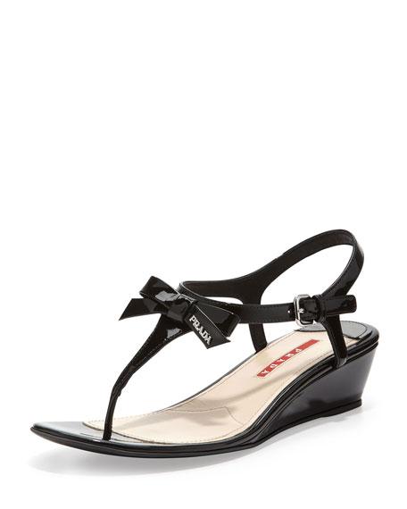 a8a8db3bfa Patent Bow Demi-Wedge Sandal Black
