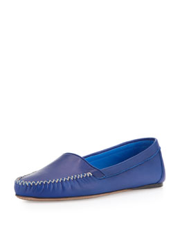 Prada Napa X-Stitched Loafer Flat, Blue
