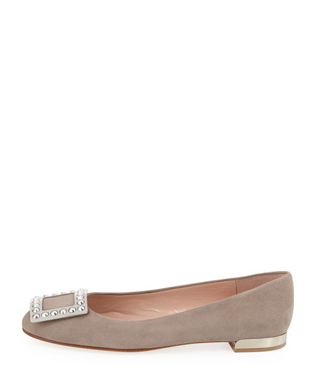 Wow Crystal-Buckle Suede Flat, Fossil