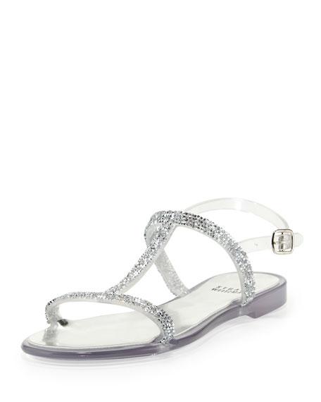 Teezer Crystal Jelly Sandal, Clear