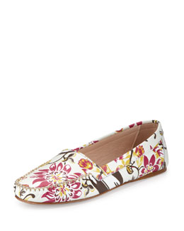 Prada Floral-Print Leather Moccasin