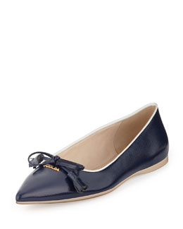 Prada Point-Toe Tassel Ballerina Flat, Navy