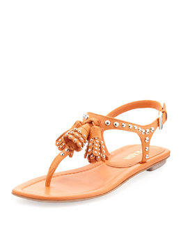 Prada Napa Studded Thong Sandal, Orange