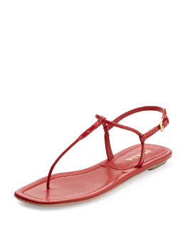 Prada Flat Thong Sandal, Red