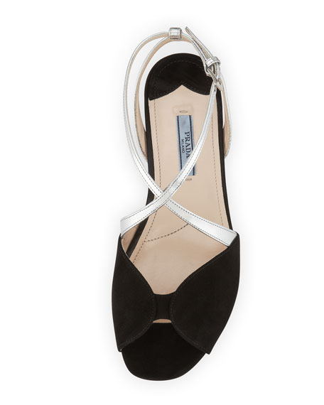 Crisscross Crystal-Heel Sandal, Black/Silver