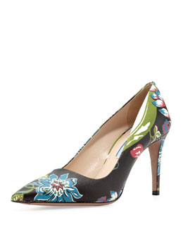 Prada Floral Point-Toe Pump, Black