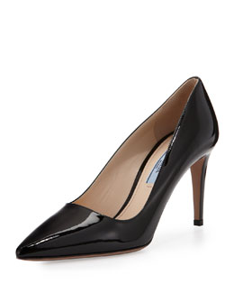 Prada Saffiano Low-Heel Pump, Black